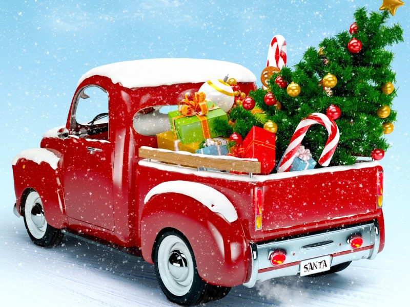 new-year-christmas-winter-red-car
